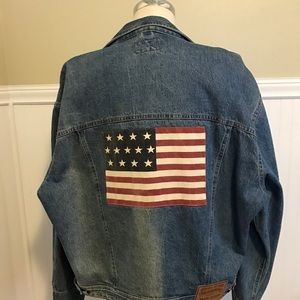RALPH LAUREN FLAG JEAN JACKET VINTAGE COUNTRY L